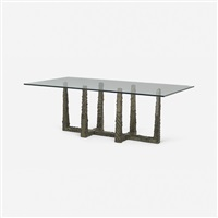 sculpted metal dining table by paul evans
