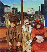 wachtende menschen in tramhuis by gérardus hendrik grauss