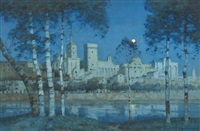 the papal palace, avignon, by moonlight by a. moulton foweraker