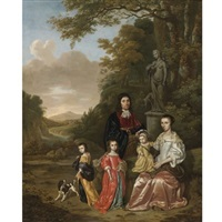 a group portrait of the loth family in a landscape by jan le ducq