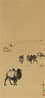 骆驼 (camels in the desert) by wu zuoren