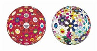 flowerball (3d) from the realm of the dead; flowerball (3d); flowerball (3d) sunflower; flowerball (3d) the magic flute; flowerball (3d) red cliff (5 works) by takashi murakami