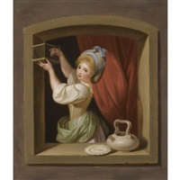 a young girl at the window, placing a goldfinch in a cage by ludwig guttenbrunn