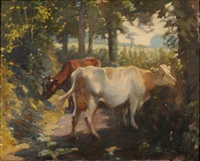 cattle in a sunlit lane by charles walter simpson
