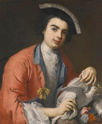portrait of carlo broschi, called farinelli (1705-1782), half length, wearing a crimson coat, a tricorne hat and holding a dove, with a sheet of music by jacopo amigoni