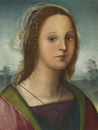portrait of a young lady with a pearl headdress, a landscape beyond by raffaelino del garbo