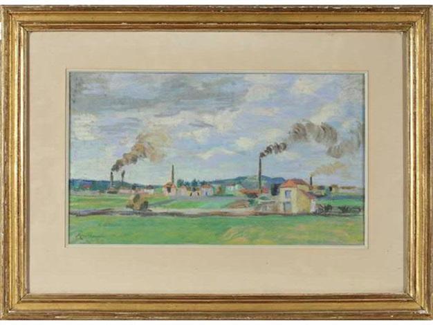 paysage avec cheminées dusine by armand guillaumin