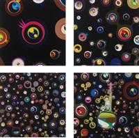 jellyfish eyes – black 1; jellyfish eyes – black 3; jellyfish eyes – black 5; and jellyfish eyes, 2004 (4 works) by takashi murakami