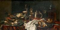 composition aux fruits, coupes montées et chopes sur tapis d'orient by adriaen (lossenbruy) honich