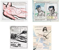 four works: (i) untitled (between the promise); (ii) untitled (all useful morality), 1992; (iii) untitled (how many wars), 1990; (iv) untitled (mayor bradley) by raymond pettibon