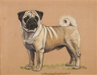 "champion ""terralong davy crockett""; standing pug (+ another, smllr; 2 works) by gladys emerson cook"