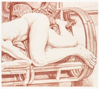 nude on a bamboo sofa by philip pearlstein