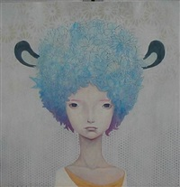 girl with blue flower hair by yoskay yamamoto