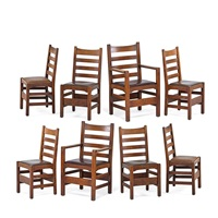 assembled set of eight ladderback dining chairs by gustav stickley