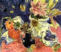 vase, black jug and flowers by yvonne mottet