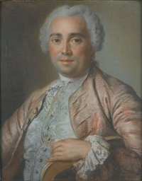 portrait of a gentleman, half-length, in a salmon coat with a pale green brocaded waistcoat and a lace jabot by pierre allais
