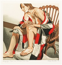 hunzinger chair and wooden swan (+ red grooms) by philip pearlstein
