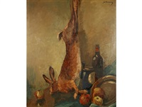 still life with a hare, fruit and wine on a table by jules verstraeten