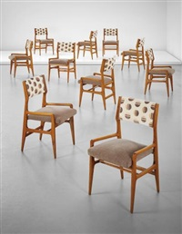 set of ten dining chairs, from a villa, liguria by gio ponti