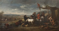 a military encampment by pieter van bloemen