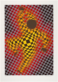 two plates from figurative by victor vasarely