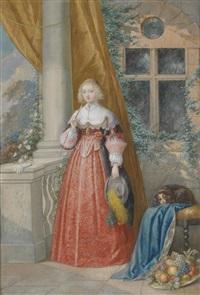 junge dame mit reitgerte und hündchen an einer balustrade stehend by emanuel stöckler