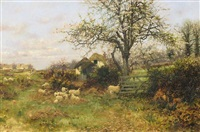 rural landscape with sheep by sidney pike