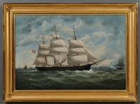 portrait of the american ship weston merritt off liverpool by william gay yorke