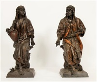 un couple d'arabe assis sur un tronc d'arbre, l'une avec une jarre l'autre avec ses pistolets (2 works) by anonymous (19)