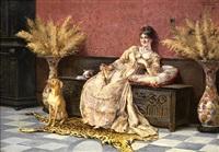 retrato de dama recostada sobre un arcón, acompañada por su perrito by enrique cabral y llano