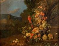 composition de fruits avec un ara, un singe et un écureuil sur un fond paysager by jan pauwel gillemans the younger