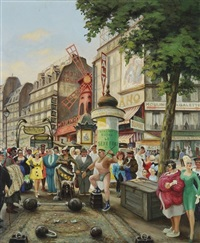 paris, le moulin rouge et la place blanche by gaston lebeuze