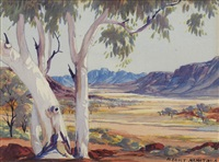 untitled (central australian landscape) by albert namatjira