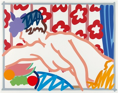 judy reaching over the table by tom wesselmann
