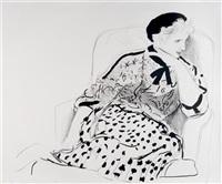 celia in an armchair by david hockney