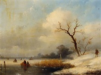 figures on a frozen lake by johannes franciscus hoppenbrouwers