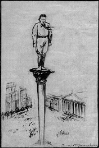 hitler standing at the top of a pedestal by louis raemaekers