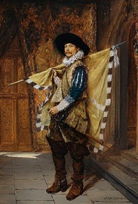 cavalier in an interior by jacques-henri-jean lambert