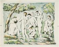 les baigneurs, petite planche - les petits baigneurs by paul cézanne