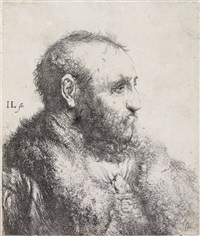 bust of a man wearing a fur coat: profile by jan andreas lievens the younger