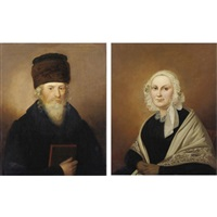 a rabbi and his wife (pair) by adolf perdisch