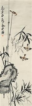 枝头麻雀图 (three sparrows and bamboo) by qi baishi