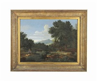 an extensive river landscape with classical figures at rest by gaspard dughet