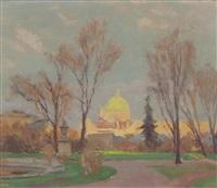 blick auf die salesianerkirche vom park des belvederes aus gesehen by anton hans karlinsky