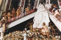 le drapé le baroque, ou vierge blanche aux deux colonnes et deux colombes by orlan