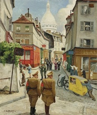 paris, le rue norvins et le sacré-coeur by gaston lebeuze