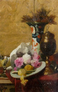 a still life with flowers, fruit and cup by edouard van den bosch