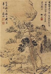 山水 立轴 纸本设色 by wen zhengming
