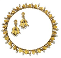 a demi-parure comprising a necklace of fringe design and a pair of earrings (set of 2) by charles rivaud