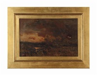 landscape at sunset by charles partridge adams